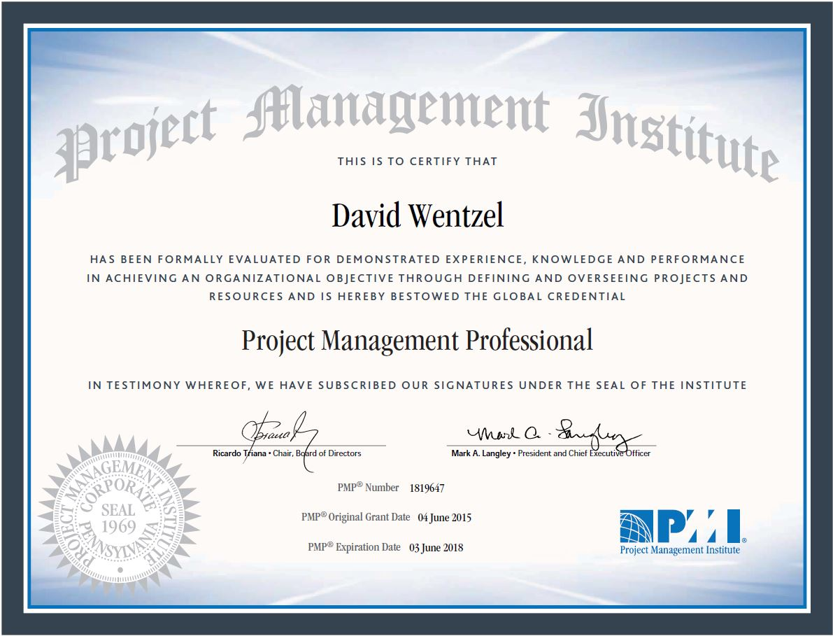Pmp certified davewentzel studying for the pmp is a big investment in time but the payoff to your brand is immeasurable xflitez Images